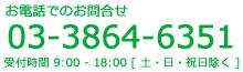 お電話でのお問合せ 03-3864-6351